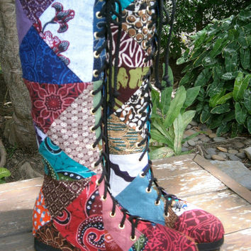 Vegan Womens Boots In Colorful Authentic Indonesian Batik Patchwork Boho Boots Sadie