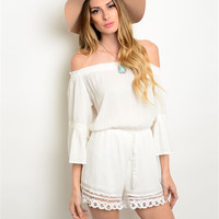 Shoulder Sleeve Strapless Romper