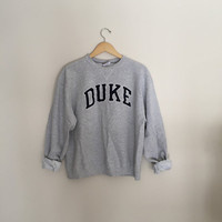 Vintage Duke Gray Crewneck Sweatshirt Size LARGE
