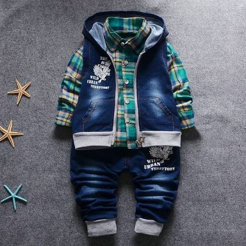 Spring Autumn Infant Little Baby Boys Cotton Shirt Jeans Pants Jeans Vest Clothes 3 Pieces of  Set