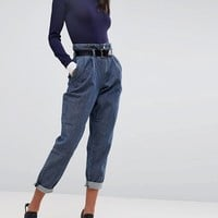 ASOS Tapered Trousers with Belt In Herringbone Denim at asos.com