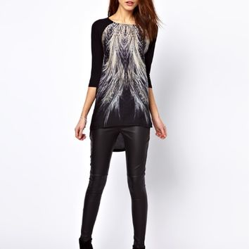 Peacock Tail Print Loose T-Shirt