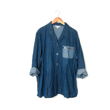 vintage denim TENCIL shirt. Soft dark blue tencel jean shirt. Oversized jean shirt. Slouchy loose fit shirt. Zipper pocket. XL