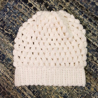 Puff Stitched Slouchy Hand Crochet Beanie