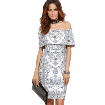 White Vintage Print Foldover Off The Shoulder Ruffle Short Bodycon Dress