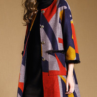 Color Block Fur Detail Woolen Coat
