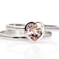 Morganite Engagement Ring Wedding Band Set Heart by RareEarth