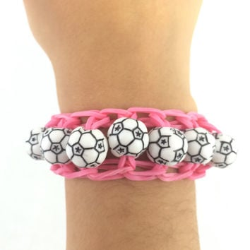 Soccer Pink Bracelet Rainbow Loom Handmade Rubber Bands Customize with Team Colors