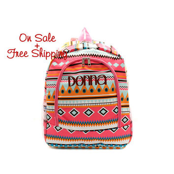 On Sale with Free Shipping 16 Inch Pink Aztec Print School Backpack Free Monogramming With Purchase