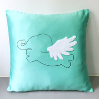 Flying Elephant Mint Decorative Pillow Cover. Cute Easter Decor. 17inch Children Room Cushion Cover.Mint Nursery Decoration.Baby Shower Gift