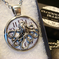 Silver Octopus over Clock Steampunk Pendant Necklace (1965)