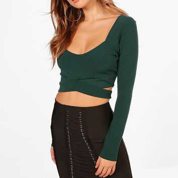 Sally Long Sleeve Cut Out Bralet | Boohoo
