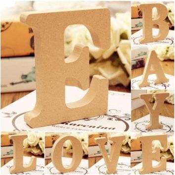 Fashion English Letters A-Z-& Craft Wood Wooden Letters Bridal Wedding Party Birthday Home Decorations