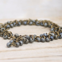 Japanese Seed Beads Beaded Brass Chain Bracelet