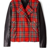 Red Tartan Leather Biker by Preen
