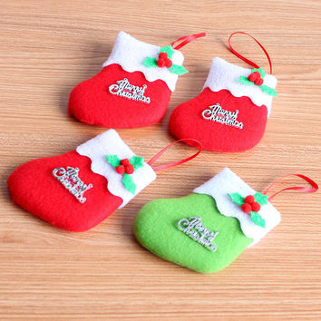Christmas Fabric Stocking Sock Gifts Bags Tree Decoration (Size: 9CM) [9431841156]
