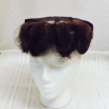 50s Real Mink and Satin Vintage Fascinator Hat with Mesh Size 7