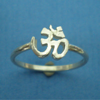 OM OHM AUM Silver Ring Band Yoga Hindu Chakra Meditation Sanskrit Prayer Spiritual Symbol - 8mm