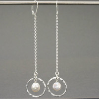 Dangling Coin Pearl Hoop Earrings