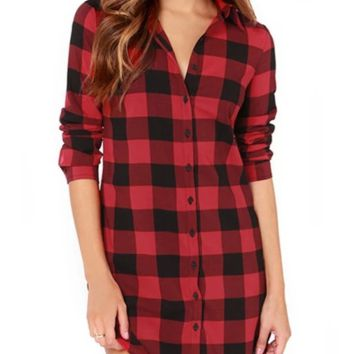 Plaid  Long Sleeves Lapel Blouse