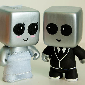 Robots Wedding Cake Topper MADE TO ORDER