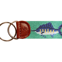 Billfish (Mint) Needlepoint Key Fob | Smathers & Branson