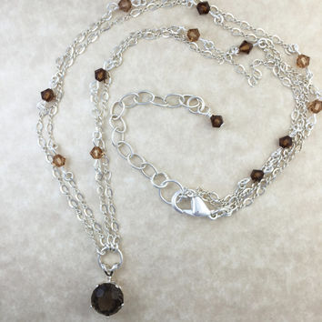 Round Faceted Smoky Quartz Pendant Necklace with Fine Argentium Silver Chain and Swarovski Crystals
