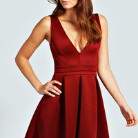 Sara Plunge Neck Skater Dress