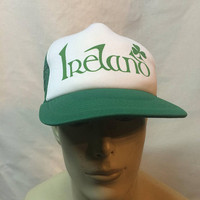ORIGINAL Vintage 1970s 1980s Ireland Irish flat bill trucker mens hat cap