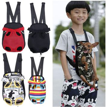 Pet Carrier Dog Front Chest Backpack Five Holes Backpack Dog Outdoor Carrier Tote Bag Sling Holder Mesh Cat Puppy Dog Carrier