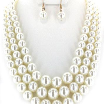 "19.50"" cream faux pearl multi layered 3 strand necklace 1"" earrings"
