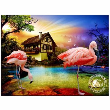 Pink Flamingo Mosaic Painting Home Decoration
