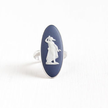 Vintage Wedgwood Sterling Silver Blue Cameo Ring - Size 6 Dark Blue Huge Jasperware London England 1975 NeoClassical Navette Goddess Jewelry