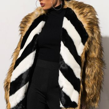 AMMO x AKIRA Label Long Sleeve Faux Fur Striped Interior Coat in Brown Multi