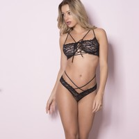 Sexy Lace Bra and Cheeky Tanga Lingerie Set