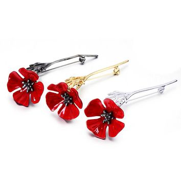 Vintage Red Flower Brooch Pins for Women Fashion Wedding Men Jewelry Classic Kate Princess Memorial Enamel Brooches Hot Sale