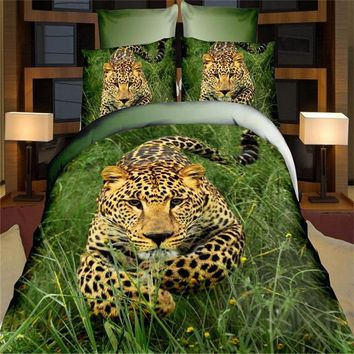 Home Textiles,Jungle Leopard Style 3D Print Bedding Sets Queen Size 4Pcs Duvet Cover Bed Sheet Pillowcase Bedspreads