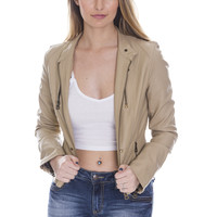 Faux Leather Moto Jacket - Tan Ed