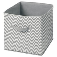 InterDesign Chevron Fabric Foldable Nursery Storage Cube - Gray/Cream, Large