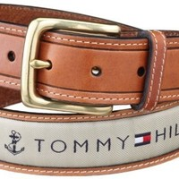 Tommy Hilfiger Men's Ribbon Inlay Belt,Khaki,40