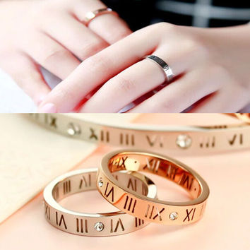 Punk Rock Hollow Out Roman Numerals Finger Rings Stainless Steel Ring Fashion Jewelry Brand Rose Gold AAA Zircon Rings For Women
