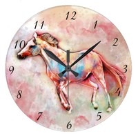 Horse in watercolor large clock