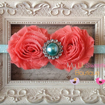 Coral and aqua Double Flower Shabby Chiffon Sparkly Headband with Pearl Rhinestone Center - Baby Girl Headband -