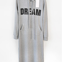 Grey Hooded Letter Print Long Sleeve Sweatshirt Dress