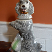 "Poodle Decanter, Poodle Liquor Bottle, Grey Poodle, Jim Beam ""penny""  Liquor Decanter, 1970  Jim Beam, Jim Beam Whiskey Decanter"
