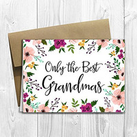 Grandmas Get Promoted to Great Grandmas - We're having a baby! - Pregnancy Announcement Card (5x7 size)