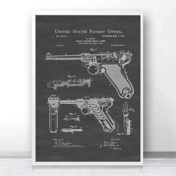 Luger Pistol  Patent Print  Art Silk Fabric Poster Prints Home Wall Decor Painting