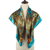 Printed Scarf In Turquoise