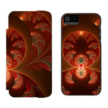 Luminous abstract modern orange red Fractal Wallet Case For iPhone SE/5/5s