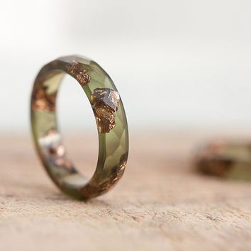 Deep Lichen Green Resin Ring Stacking Ring Pink Gold Flakes Small Faceted Ring OOAK khaki olive green rusteam